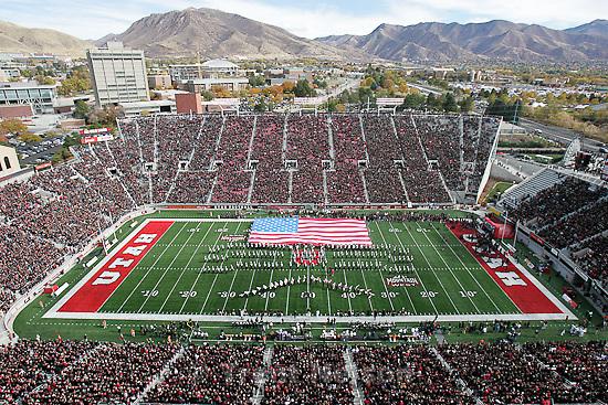 Trent Nelson  |  The Salt Lake Tribune.utah marching band, Utah vs. TCU college football, Saturday, November 6, 2010. TCU won 47-7. american flag