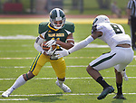 SPEARFISH, SD: SEPTEMBER 2: Bradley Adamson #11 of Black Hills State runs toward Adams State defender Brandon Baker #8 during their game Saturday at Lyle Hare Stadium in Spearfish, S.D.   (Photo by Dick Carlson/Inertia)