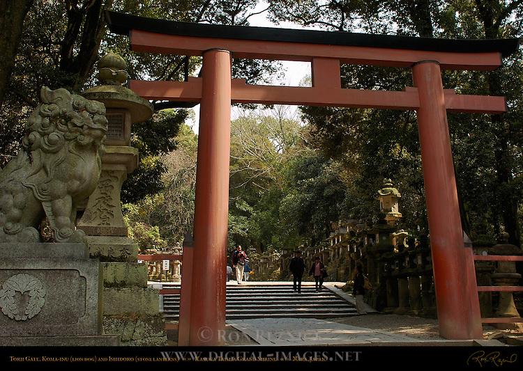 Torii Gate, Koma-inu Lion Dog, Ishidoro Stone Lanterns, Kasuga Taisha Grand Shrine, Nara, Japan