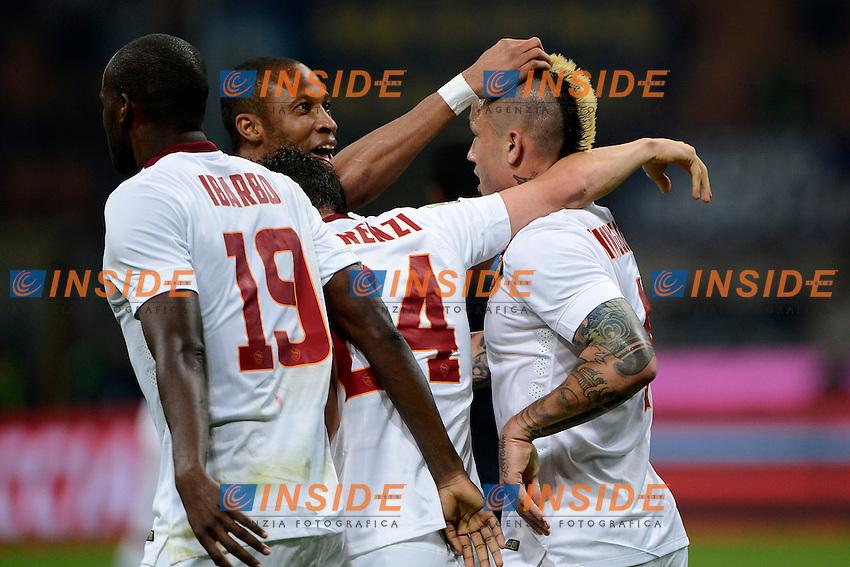Esultanza gol di Radja Naingglan Roma 1-1. Celebration goal<br /> Milano 25-04-2015 Stadio Giuseppe Meazza - Football Calcio Serie A Inter - Roma. Foto Giuseppe Celeste / Insidefoto