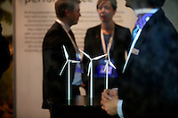 Exhibition promoting windmills in Forum exhibition Hall, the site of the Bright Green Conference. United Nations Climate Change Conference (COP15) was held at Bella Center in Copenhagen from the 7th to the 18th of December, 2009. A great deal of groups tried to voice their opinion and promote their cause in various ways. The conference and demonstrations was covered by thousands of photographers and journalists from all over the world...©Fredrik Naumann/Felix Features.