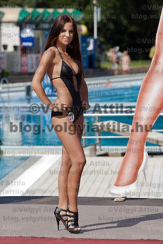 Vanda Szamosi participates the Miss Bikini Hungary beauty contest held in Budapest, Hungary on August 29, 2010. ATTILA VOLGYI
