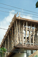 Bamboo used in building construction to support upper floor.<br />