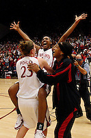 22 December 2007: Candice Wiggins, Jeanette Pohlen and Melanie Murphy celebrate after Stanford's 73-69 win over Tennessee at Maples Pavilion in Stanford, CA.