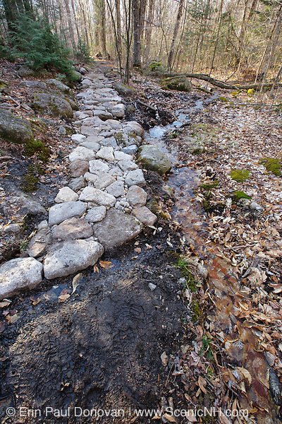 Rip rap surface near the beginning of the Mt Tecumseh Trail in the New Hampshire White Mountains in April 2012