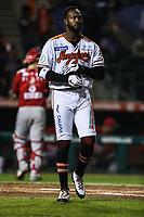 Domonic Brown de los naranjeros, durante juego de beisbol de la Liga Mexicana del Pacifico temporada 2017 2018. Tercer juego de la serie de playoffs entre Mayos de Navojoa vs Naranjeros. 04Enero2018. (Foto: Luis Gutierrez /NortePhoto.com)