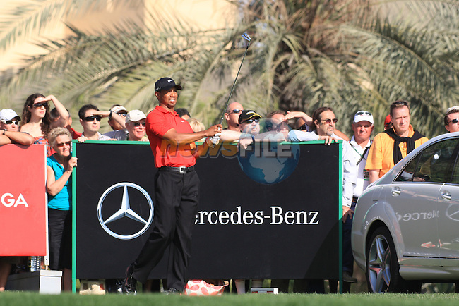Tiger Woods (USA) in action at the Omega Dubai Desert Classic 2011 on the Majlis Course, Emirates Golf Club, Dubai, UAE. 13/02/2011Speaking after the prize giving to reporters about his final round..Picture Fran Caffrey/www.golffile.ie.