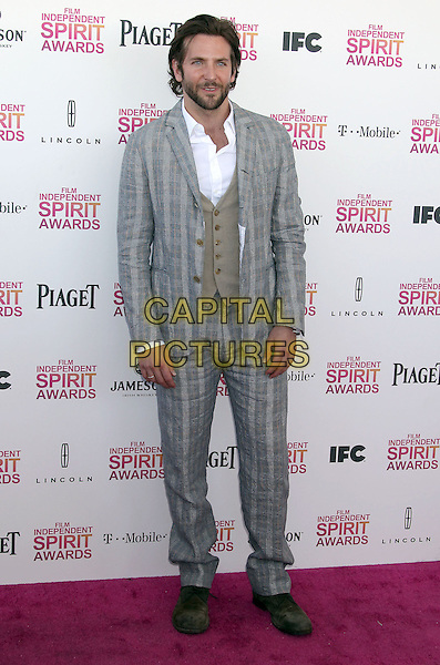 Bradley Cooper.2013 Film Independent Spirit Awards - Arrivals held at Santa Monica Beach..Santa Monica, California, USA,.23rd February 2013..indy indie indies indys full length grey gray suit waistcoat white shirt brown checked plaid .CAP/ADM/RE.©Russ Elliot/AdMedia/Capital Pictures