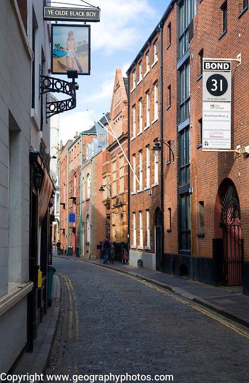 Narrow High Street in the old town, Hull, Yorkshire, England