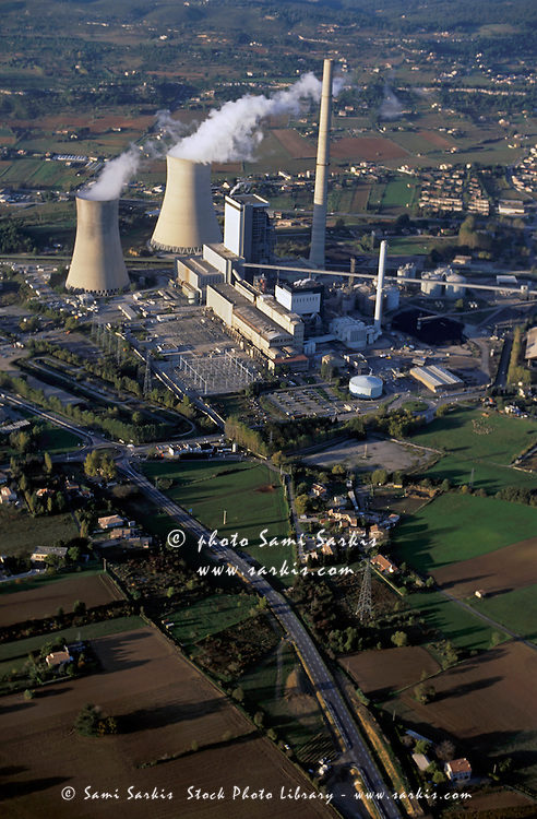 Coal thermal power plant with smokestacks, Gardanne, Provence, France.