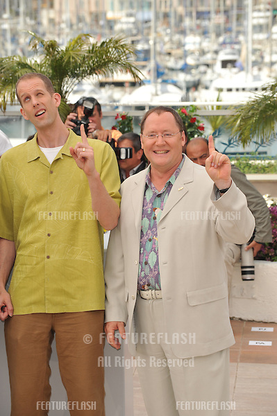 "Pete Docter & John Lasseter (right) at photocall for their new movie ""Up"" which is the opening movie for the 2009 Cannes Film Festival..May 13, 2009  Cannes, France.Picture: Paul Smith / Featureflash"