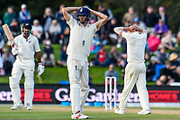 Alastair Cook of England disappionted after a missed chance during the final day of the Second International Cricket Test match, New Zealand V England, Hagley Oval, Christchurch, New Zealand, 3rd April 2018.Copyright photo: John Davidson / www.photosport.nz