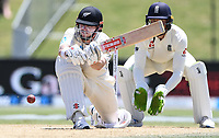 23rd November 2019; Mt Maunganui, New Zealand;  Henry Nicholls sweeps during play on Day 3, 1st Test match between New Zealand versus England. International Cricket at Bay Oval, Mt Maunganui, New Zealand.  - Editorial Use