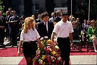May 1992 File Photo - Montreal (Qc) CANADA - Ceremonies of Montreal 350th anniversary : Quebec Premier Robert Bourassa (M)