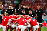 1st November 2019, Tokyo, Japan;  New Zealand team glook on as Wales form their scrum;  2019 Rugby World Cup 3rd place match between New Zealand 40-17 Wales at Tokyo Stadium in Tokyo, Japan.  - Editorial Use