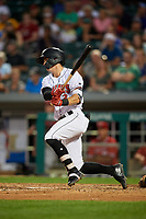 Indianapolis Indians shortstop Kevin Newman (3) follows through on a swing during a game against the Rochester Red Wings on July 24, 2018 at Victory Field in Indianapolis, Indiana.  Rochester defeated Indianapolis 2-0.  (Mike Janes/Four Seam Images)