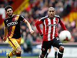 Nat Knight Percival of Bradford City and Leon Clarke of Sheffield Utd during the English League One match at Bramall Lane Stadium, Sheffield. Picture date: April 17th 2017. Pic credit should read: Simon Bellis/Sportimage