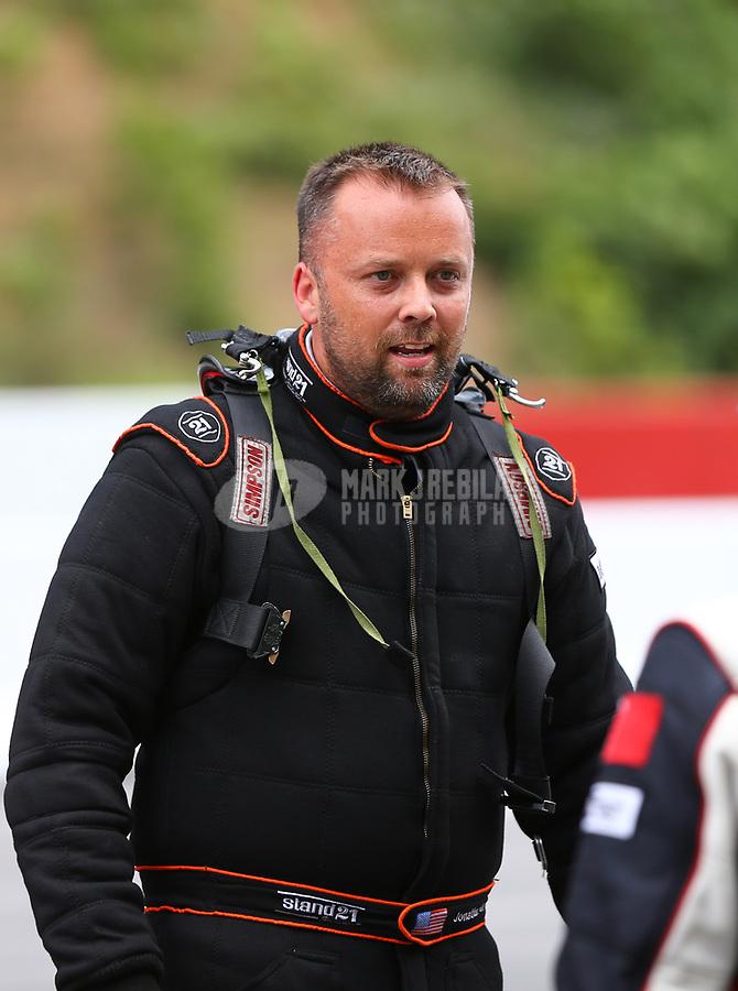 Jun 17, 2017; Bristol, TN, USA; NHRA pro mod driver Jonathan Gray during qualifying for the Thunder Valley Nationals at Bristol Dragway. Mandatory Credit: Mark J. Rebilas-USA TODAY Sports