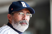 03 october 2009: Team manager of Rouen Francois Colombier is seen in the dugout prior to game 1 of the 2009 French Elite Finals won 6-5 by Rouen over Savigny in the 11th inning, at Stade Pierre Rolland stadium in Rouen, France.