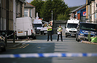 Pictured: A police cordon at Jeffrey Street, Newport, south Wales, UK. Wednesday 20 September 2017<br />Re: Two men have been arrested in south Wales over Friday's terror attack on a London Underground train, bringing the total number held to five.<br />Two men, one 48 and the other 30 were detained under the Terrorism Act in the early hours, after a search at an address in Newport.<br />Police are still searching there, and at a second address in Newport.<br />Thirty people were injured when a homemade bomb partially exploded on a rush-hour Tube train at Parsons Green in south-west London.