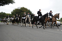Pictured: Funeral cortege arrives at Maragam Crematorium in Port Talbot, Wales, UK. Monday 08 October 218<br /> Re: A grieving father will mourners on horseback at the funeral of his &ldquo;wonderful&rdquo; son who killed himself after being bullied at school.<br /> Talented young horse rider Bradley John, 14, was found hanged in the school toilets by his younger sister Danielle.<br /> Their father, farmer Byron John, 53, asked the local riding community to wear their smart hunting gear at Bradley&rsquo;s funeral.<br /> Police are investigating Bradley&rsquo;s death at the 500-pupils St John Lloyd Roman Catholic school in Llanelli, South Wales.<br /> Bradley&rsquo;s family claim he had been bullied for two years after being diagnosed with Attention Deficit Hyperactivity Disorder.<br /> He went missing during lessons and was found in the toilet cubicle by his sister Danielle, 12.