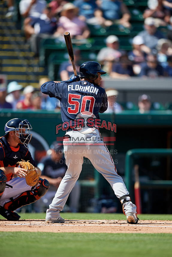 Atlanta Braves shortstop Pedro Florimon (50) at bat during a Grapefruit League Spring Training game against the Detroit Tigers on March 2, 2019 at Publix Field at Joker Marchant Stadium in Lakeland, Florida.  Tigers defeated the Braves 7-4.  (Mike Janes/Four Seam Images)