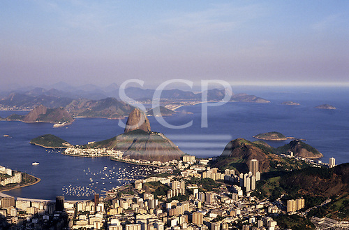 Rio de Janeiro, Brazil. View of the Sugarloaf and Guanabara Bay from the Corcovado.