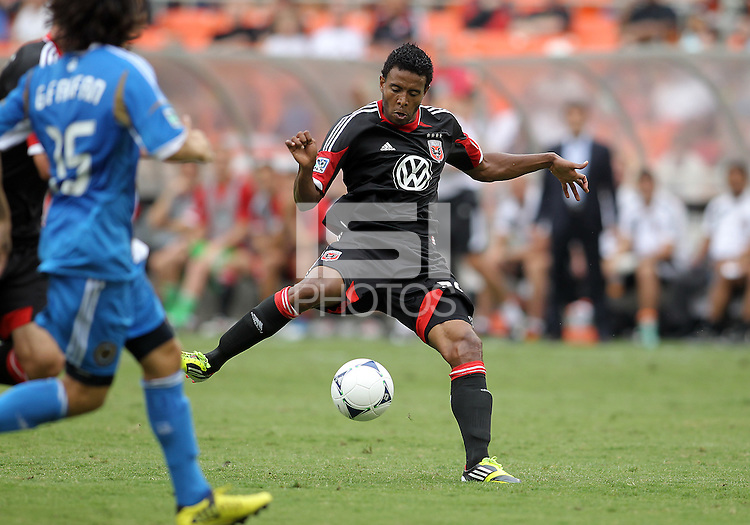 WASHINGTON, D.C. - AUGUST 19, 2012:  Newly aquired Lionard Pajoy (26) of DC United controls the ball againt the Philadelphia Union his former team during an MLS match at RFK Stadium, in Washington DC, on August 19. The game ended in a 1-1 tie.