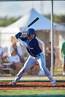 Mykanthony Valdez during the WWBA World Championship at the Roger Dean Complex on October 19, 2018 in Jupiter, Florida.  Mykanthony Valdez is a third baseman from Davie, Florida who attends Calvary Christian Academy and is committed to Miami.  (Mike Janes/Four Seam Images)
