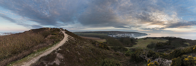 Panoramic shot of Headon Warren and The Needles on the Isle of Wight.