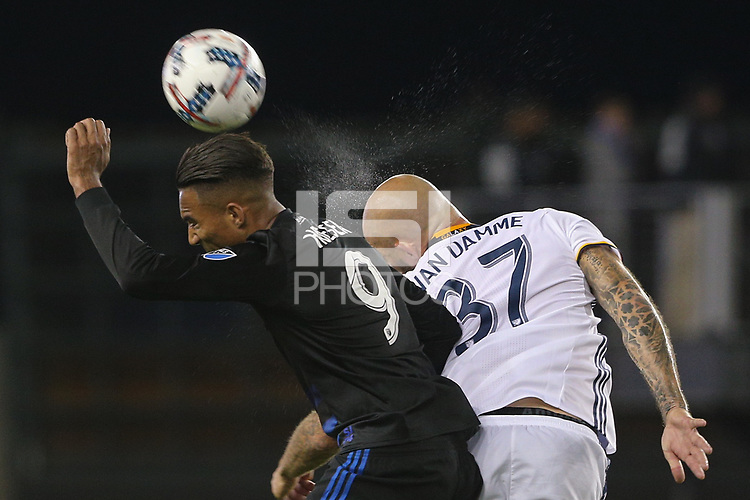 San Jose, CA - Saturday May 27, 2017: Danny Hoesen, Jelle Van Damme during a Major League Soccer (MLS) match between the San Jose Earthquakes and the Los Angeles Galaxy at Avaya Stadium.