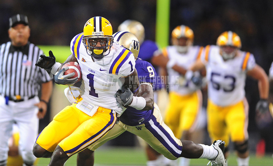 Sept. 5, 2009; Seattle, WA, USA; LSU Tigers wide receiver (1) Brandon LaFell runs the ball in the first quarter against the Washington Huskies at Husky Stadium. Mandatory Credit: Mark J. Rebilas-