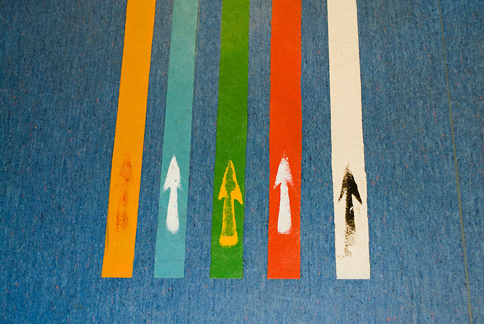 Coloured lines and arrows help guide the way to different departments of a NHS hospital. England 2008.