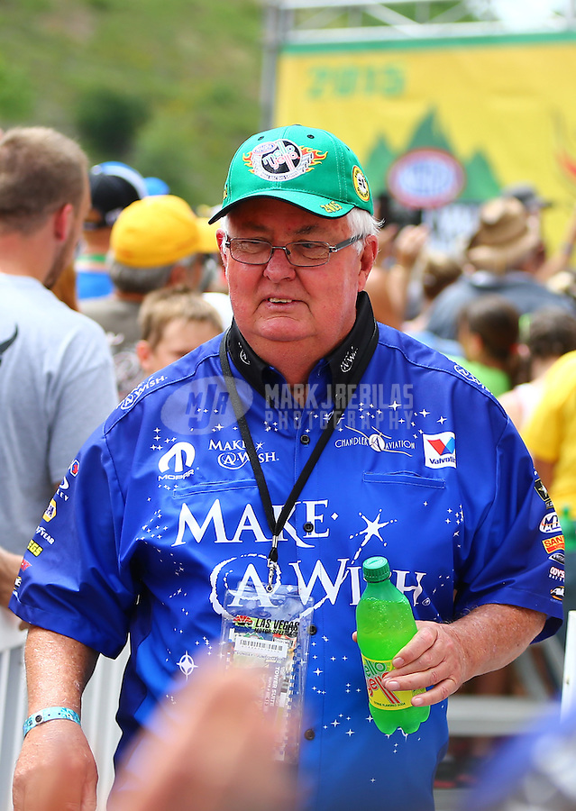Jun 21, 2015; Bristol, TN, USA; Tommy Johnson Sr , father of NHRA funny car driver Tommy Johnson Jr during the Thunder Valley Nationals at Bristol Dragway. Mandatory Credit: Mark J. Rebilas-