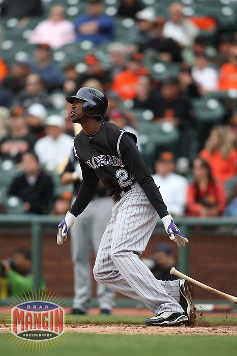 SAN FRANCISCO - MAY 3:  Dexter Fowler #24 of the Colorado Rockies bats against the San Francisco Giants during the game at AT&T Park on May 3, 2009 in San Francisco, California. Photo by Brad Mangin