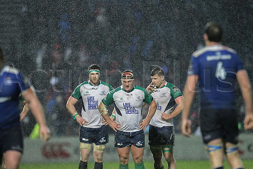 01.01.2016. RDS Arena, Dublin, Ireland. Guinness Pro 12 Leinster versus Connacht. Nathan White of Connacht with a blood injury.