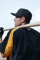 Freddy Sanchez of the Pittsburgh Pirates during batting practice before a game against the Los Angeles Angels in a 2007 MLB season game at Angel Stadium in Anaheim, California. (Larry Goren/Four Seam Images)