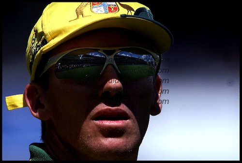 Glenn McGrath reflects on Lords during the match ..... 1999 Cricket World Cup, Pakistan V Australia at Lords.... Pic Donald MacLeod