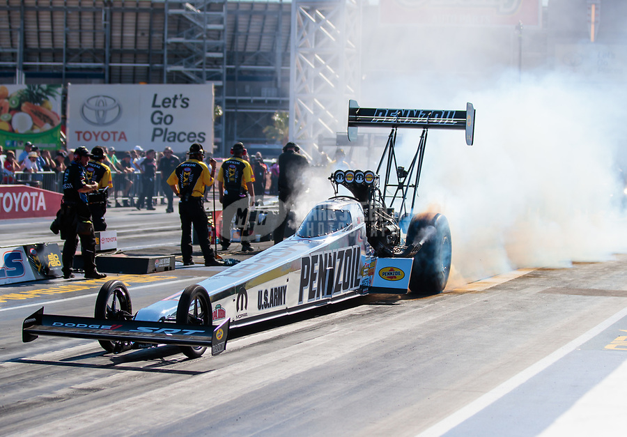Oct 26, 2018; Las Vegas, NV, USA; NHRA top fuel driver Leah Pritchett during qualifying for the Toyota Nationals at The Strip at Las Vegas Motor Speedway. Mandatory Credit: Mark J. Rebilas-USA TODAY Sports