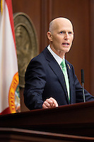TALLAHASSEE, FLA. 3/4/14-Gov. Rick Scott during the State of the State address on opening day of the legislative session, March 4, 2014 at the Capitol in Tallahassee.<br /> <br /> COLIN HACKLEY PHOTO
