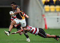 Wellington's Julian Savea on attack. ITM Cup - Wellington Lions v Counties-Manukau Steelers at Westpac Stadium, Wellington, New Zealand on Sunday, 8 August 2010. Photo: Dave Lintott/lintottphoto.co.nz.