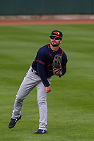 Bowling Green Hot Rods infielder Jake Palomaki (7) warms up in the outfield prior to a Midwest League game against the Cedar Rapids Kernels on May 2, 2019 at Perfect Game Field in Cedar Rapids, Iowa. Bowling Green defeated Cedar Rapids 2-0. (Brad Krause/Four Seam Images)