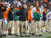 Charlotte, NC - December 2, 2017: Miami Hurricanes head coach Mark Richt during the ACC championship game between Miami and Clemson at Bank of America Stadium in Charlotte, NC. Clemson defeated Miami 38-3 for their third consecutive championship title. (Photo by Elliott Brown/Media Images International)
