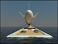 BNPS.co.uk (01202 558833)<br /> Pic: GeorgeLucian/BNPS<br /> <br /> Like a lead balloon...<br /> <br /> An ambitious designer has drawn up plans for an airship-carrying 460ft superyacht. <br /> <br /> The aptly named 'Dare to Dream' would be built to facilitate the transportation of a 330ft airship. <br /> <br /> Named 'The Flying Diamond', it'd be tethered to the sprawling deck and supplied with helium by the mother ship.