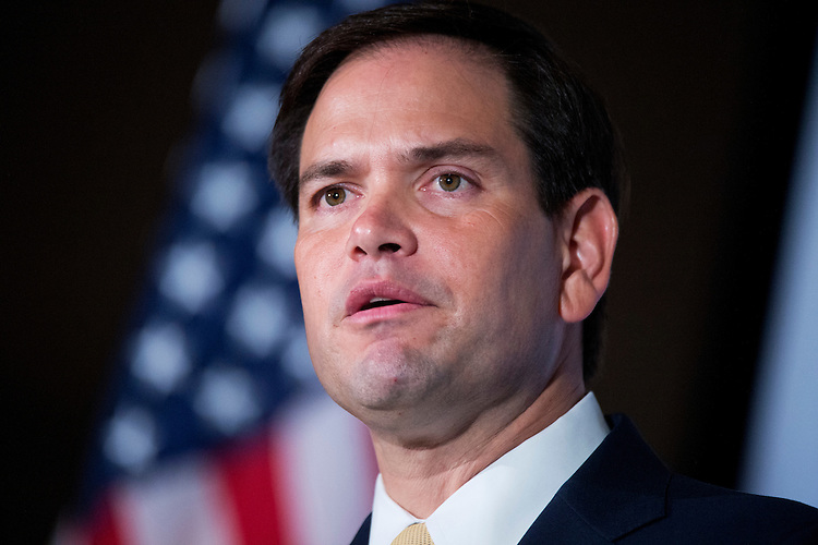 UNITED STATES - JUNE 18: Sen. Marco Rubio, R-Fla., addresses the Faith & Freedom Coalition's Road to Majority conference which featured speeches by conservative politicians at the Omni Shoreham Hotel, June 18, 2015. (Photo By Tom Williams/CQ Roll Call)