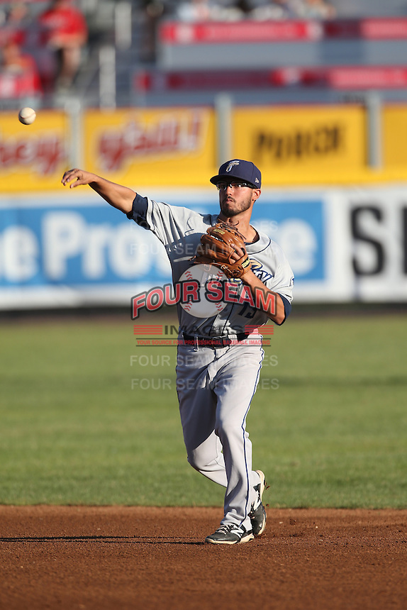 Mitch Morales (13) of the Tri-City Dust Devils makes a throw during a game against the Vancouver Canadians at Nat Bailey Stadium on July 23, 2015 in Vancouver, British Columbia. Tri-City defeated Vancouver, 6-4. (Larry Goren/Four Seam Images)