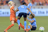 Houston, TX - Friday April 29, 2016: Denise O'Sullivan (13) of the Houston Dash and Taylor Lytle (6) of Sky Blue FC battle for control of the ball at BBVA Compass Stadium. The Houston Dash tied Sky Blue FC 0-0.