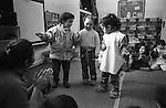 Shatila, UNRWA camp. &quot;Beit Atfal As Sumood&quot;, a social aid NGO, takes care of the children. Here, the Kindergarden. The children are playing with their teacher, Mrs Maryam Shamieh.<br />  <br /> Chatila, camp de l'UNRWA. &laquo;Beit Atfal As Soumoud&raquo;, une ONG d'aide sociale &agrave; l'int&eacute;rieur du camp prend en charge les enfants. Ici le jardin d'enfants,les petits s'amusent avec leur ma&icirc;tresse, Mme Maryam Shamieh.