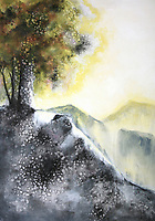 Painting of trees growing from mountain rock