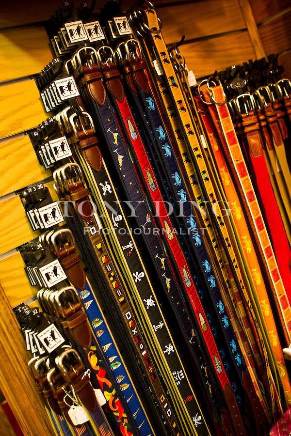 A decidedly fraternity-leaning selection of men's belts for sale at Van Boven in Nickels Arcade, Friday, Sept. 2, 2011 in Ann Arbor, Mich. (Tony Ding for The New York Times)
